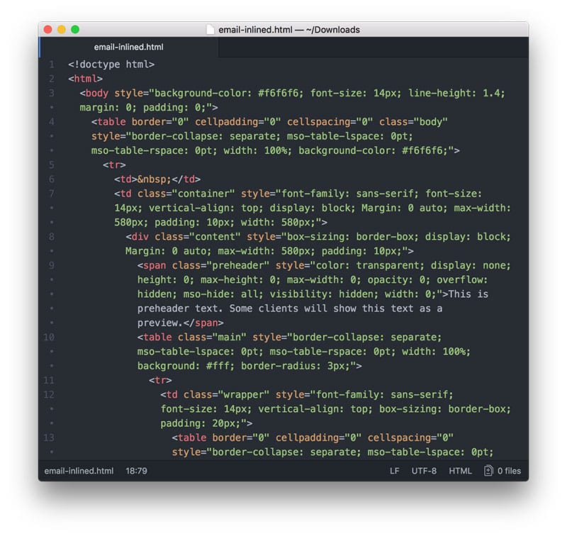 Code with inlined CSS
