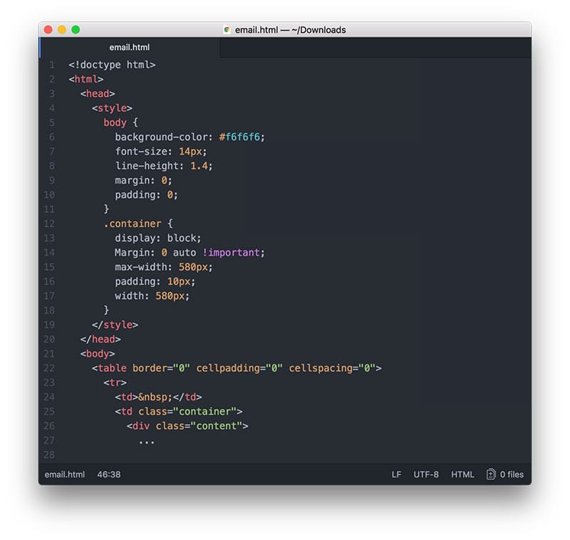 Code with embedded CSS