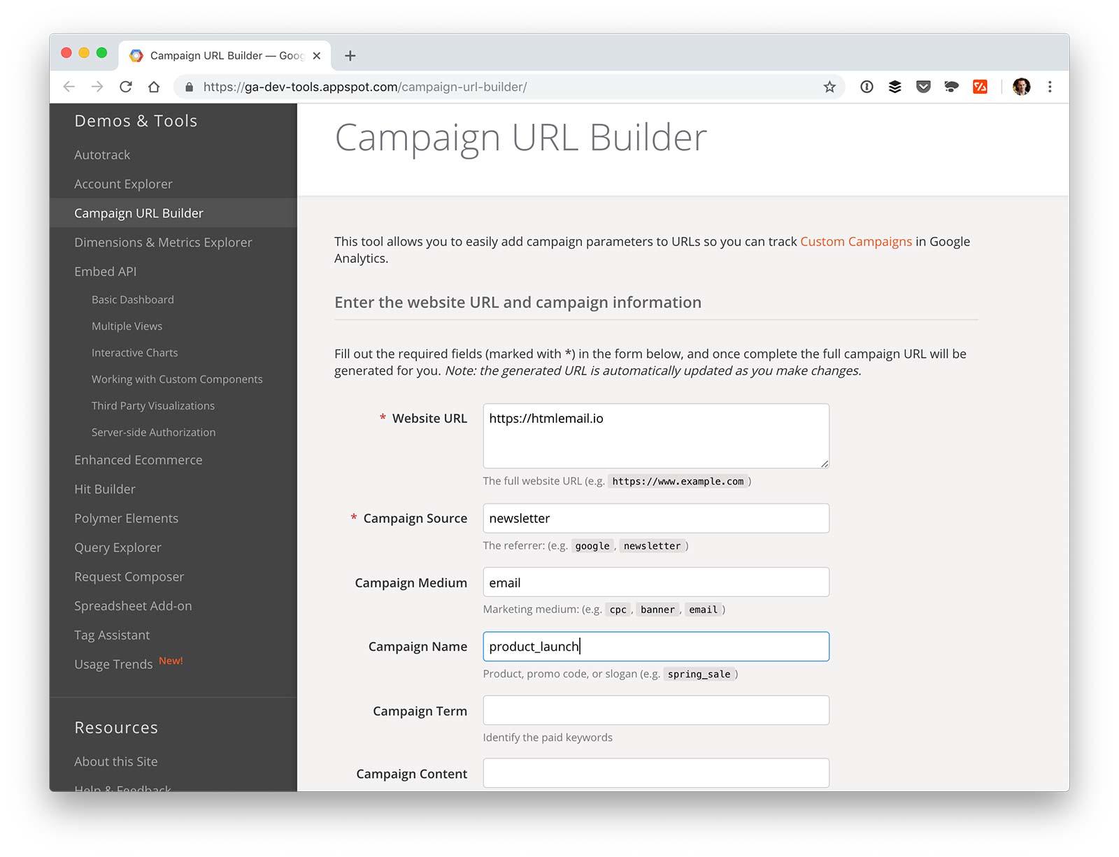 UTM code builder