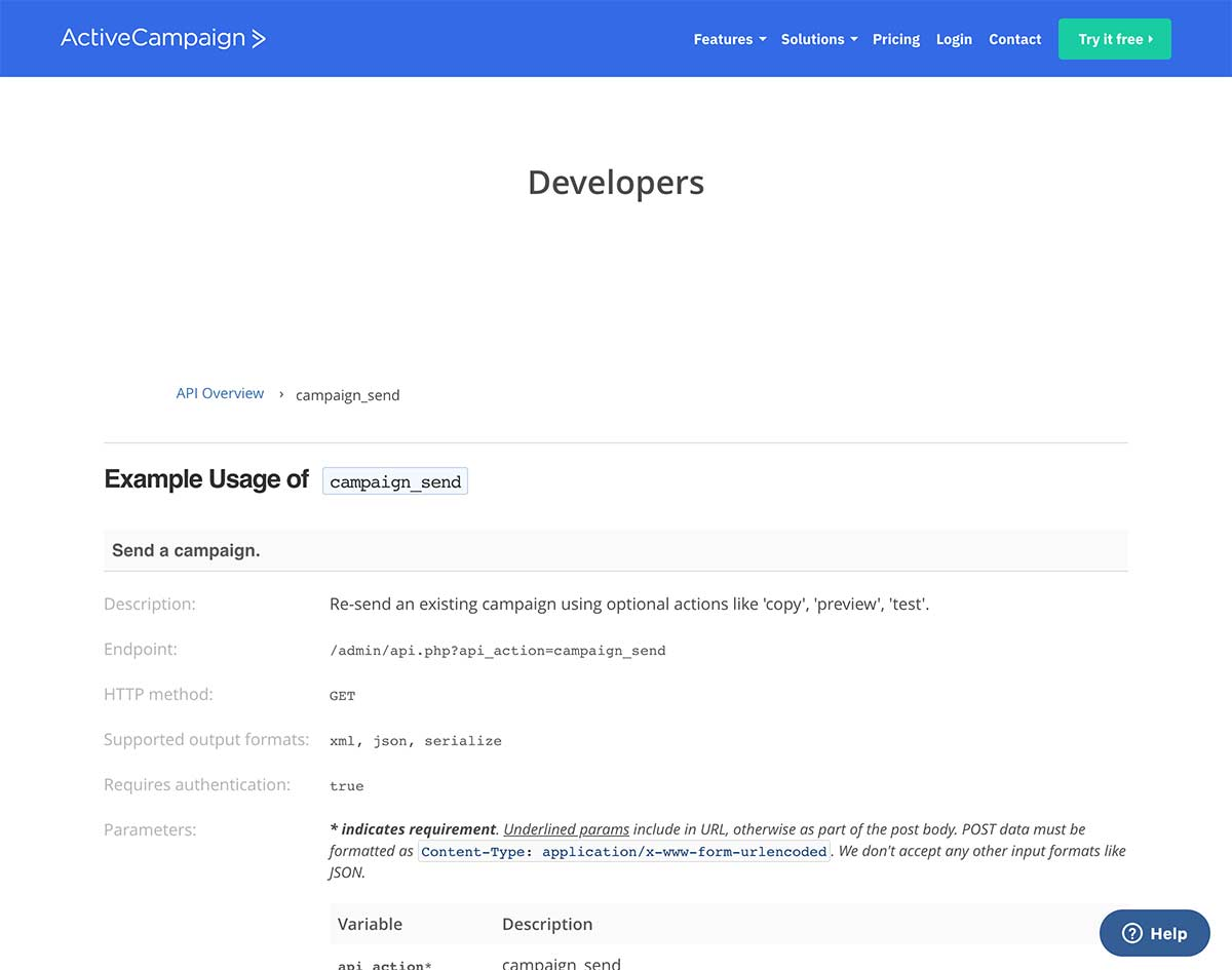 ActiveCampaign API Documentation