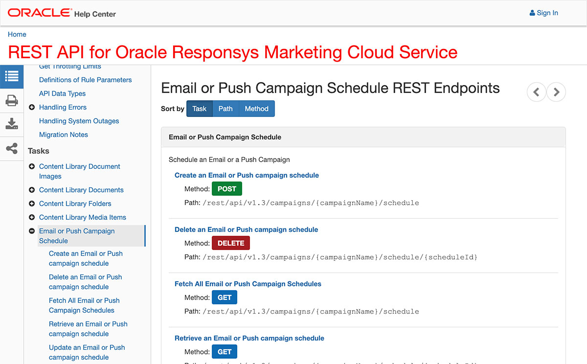 Oracle Responsys API Documentation
