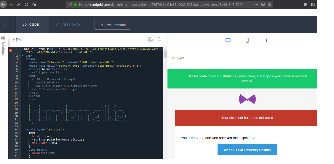 SendGrid HTML editor