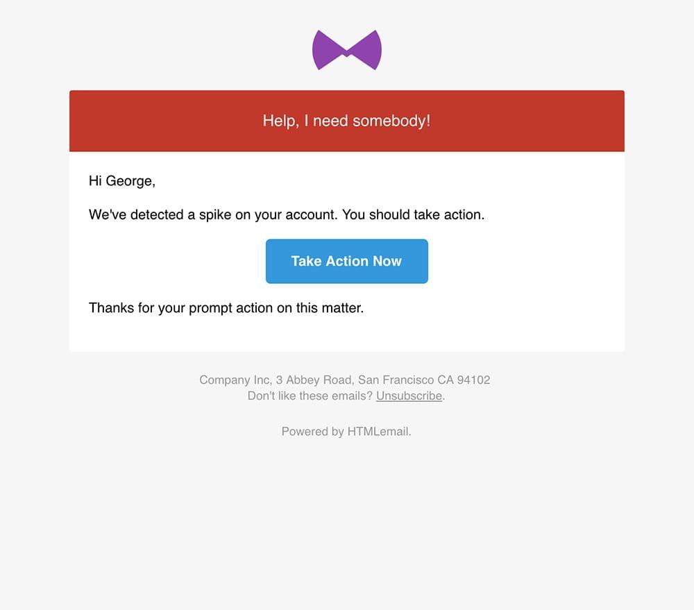 Responsive Danger Error Alert Email Template desktop preview