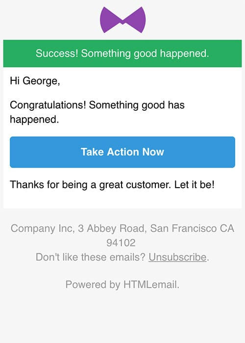 Responsive Success Alert Email Template mobile preview