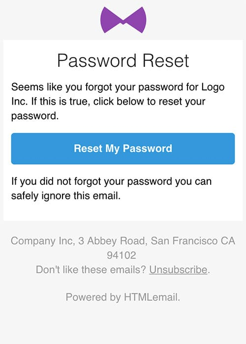 Responsive Forgot Password Reset Email Template mobile preview