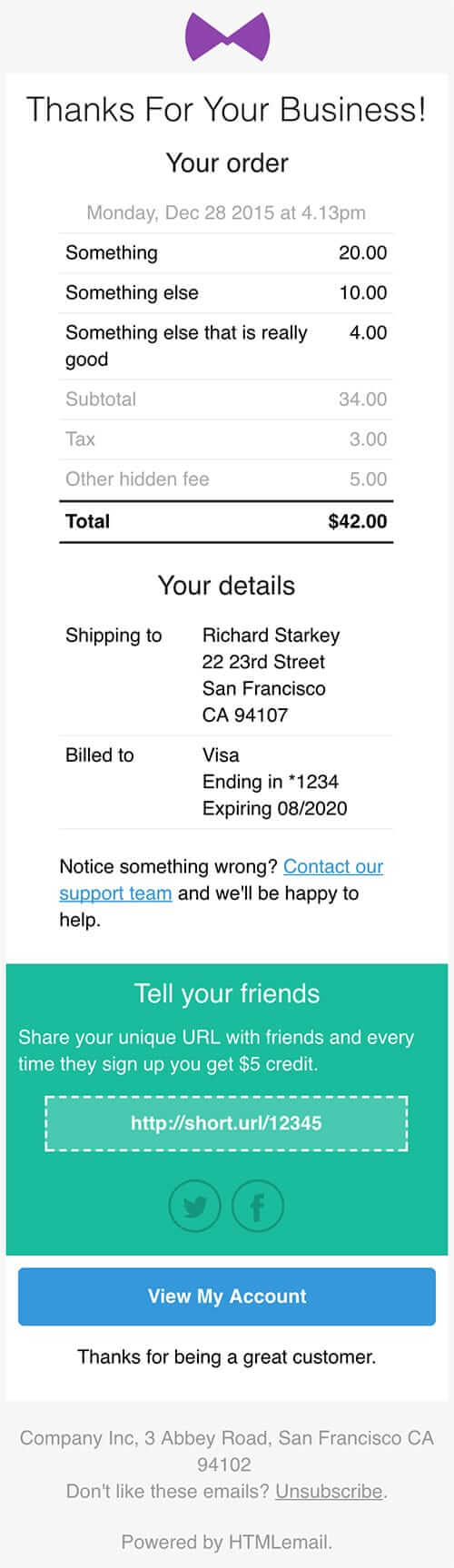 Responsive Receipt & Invoice Email Template mobile preview