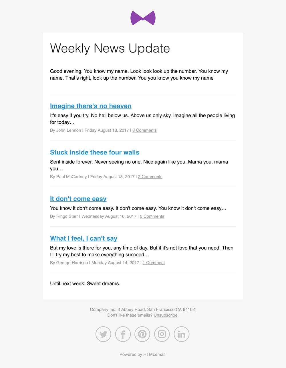 Responsive RSS to Email News Template desktop preview