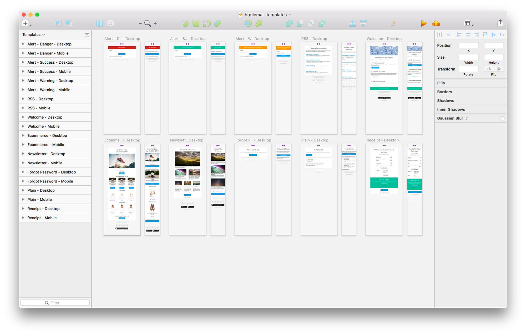 Email templates for Sketch
